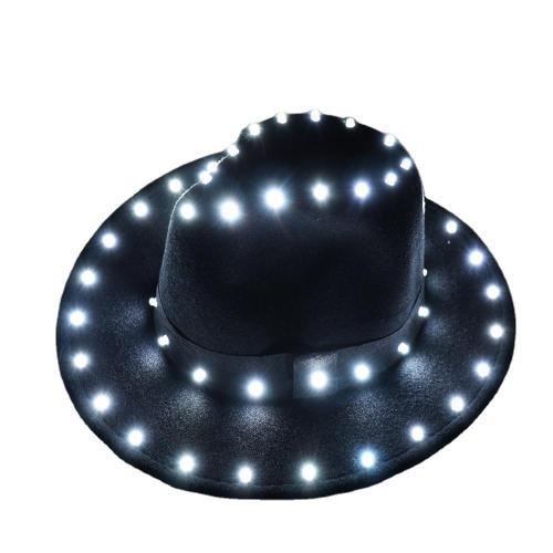 Christmas Halloween Party European American Round Caps LED Laser Shine Bowler Hats Women Men Ladies Fedoras Top Jazz Hat
