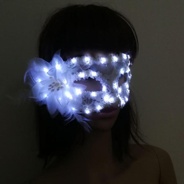 Women Girls LED Glowing Feather Fiber Mask Light Up Venetian Masks Dress Props Wedding Christmas Navidad Halloween