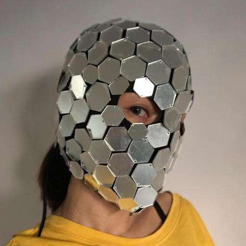 GoGo Dancer Costume Mirror Dress Mask Silver Costume Head Cover Cool Reflective Mirror Accessories