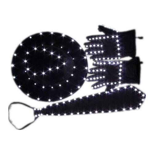 LED Costume Clothes Luminous Jazz Hat with Light Tie LED Gloves LED Suit for Michael Jacket Cosplay Costume