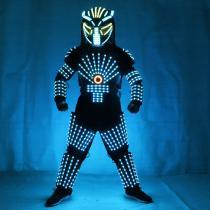RGB Colorful Led Luminous Robot Suit with LED Helmet Illuminated LED Growing Light Performance Stage Costume Clothes