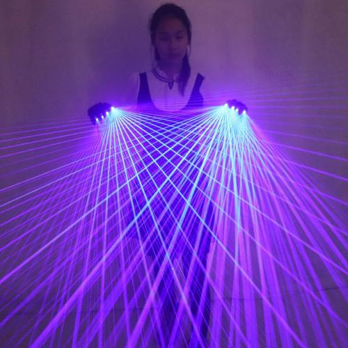 2 In 1 Multi-line Blue Laser Gloves with 4pcs Laser ,Stage Gloves for LED Luminous Laser Show