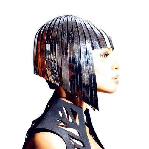 Future Space Female Wig Headgear Soldier's Cool Reflective Wig Bar GOGO Dance Wear Wavehead Mirror Wig Customize Colors