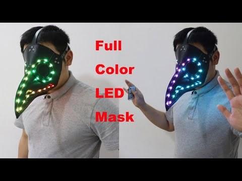 Halloween Gothic Black PU Beak LED Mask Steampunk Plague Doctor Retro Cool Bird Mouth Full Color Luminous Mask Masquerade Party