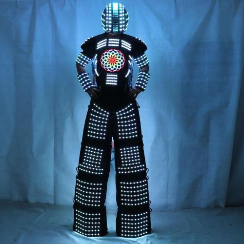 LED Light Robot Costume Clothing Traje De Robot LED Stilts Walker Suit Jacket Event Kryoman Costume