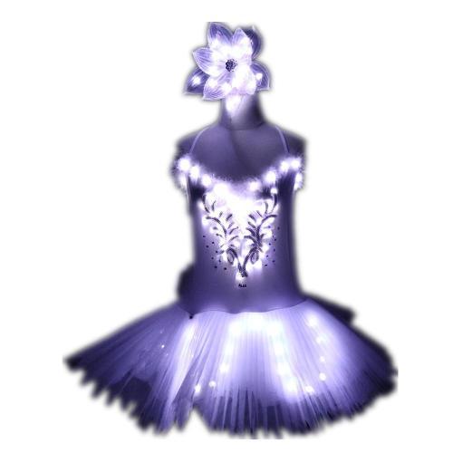Classic Adult Camisole Strap Leather Ballet LED Skirt Tutu White Swan Lake LED Luminous Costume Light Up Luminous Clothes