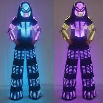 David Guetta LED Robot Suit Clothes Stilts Walker Costume Helmet Laser Gloves CO2 Jet Mach