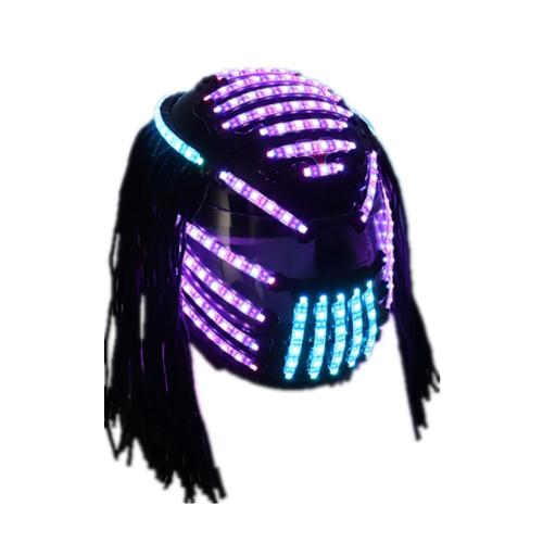 LED Helmet Monochrome Full Color Luminous Racing Helmets RGB Waterfall Effect Glowing Party DJ Robot
