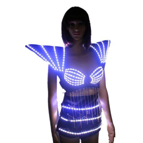 LED Clothing Lady Clothes Hot Fashion Glowing Women Bra Shorts Alice Shoulder Armor Suits Ballroom Dance Dress