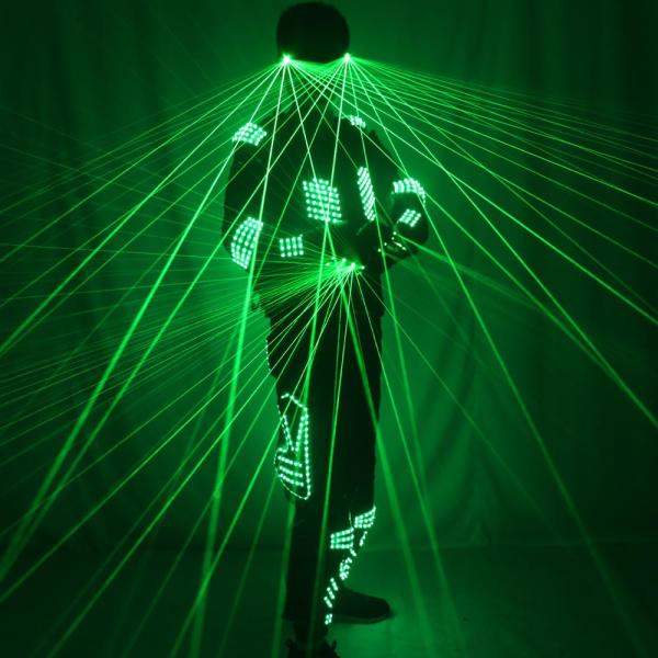 Green Laser Armor Suit  LED Glow Vest Waistcoat Laser Gloves Glasses  For Bar EDM Party Performances