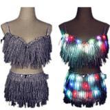 LED Clothes Glowing Bra Shorts Fashion Luminous Suits Belt Show Women Reflective Face Tasseled Bra Belly Dancer Dress Accessorie
