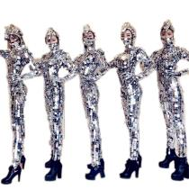 Sparkly Silver Sequins Women Jumpsuit Full Mirror Leggings Prom Celebrate Outfit Performance Clothes
