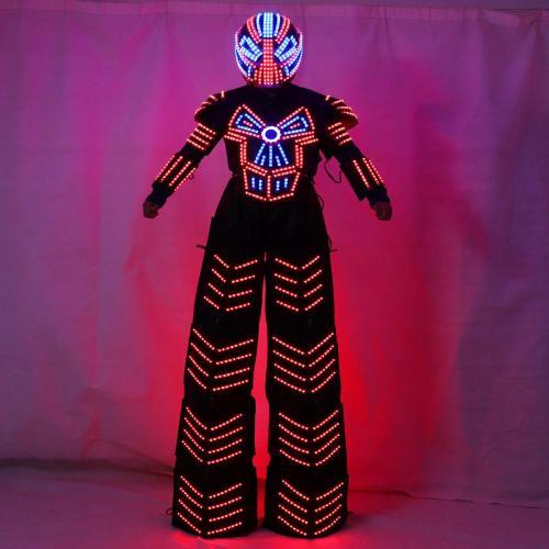 Traje De Robot LED Stilts Walker LED Light Robot Costume Clothing Event Kryoman Costume Led Disfraz De Robot
