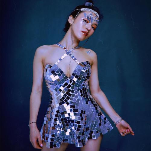 Roupa Feminina Sexy Dance Costume Mirror Dress Stage Dress Performance Wear Nightclub Clothing Silver Mirror Race Clothes
