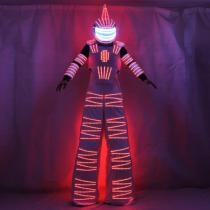 Colorful RGB LED Luminous Costume with Helmet LED Clothing Light Stilt Robot Suit Kryoman David Guetta Robot Dance Wear
