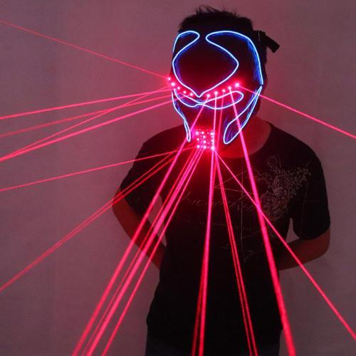 Red Laser Mask Luminous Light Up Laserman Face Mask Laser Show Halloween Masks