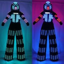 Colorful RGB LED Luminous Costume with Led Helmet LED Clothing Light Led Stilt Robot Suit Kryoman David Guetta Robot Dance Wear