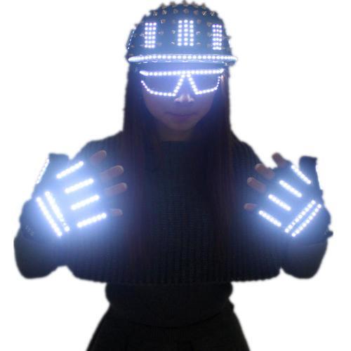 LED Luminous Glasses Gloves Rock Rivet Cap Newest Unique Gold Silver Rivet Hat for Street Hip-hop Rivet Man Woman