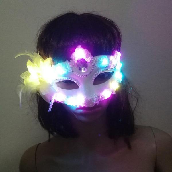 Women Lady Light Up LED Mask Masquerade Carnival Venetian Ball Masks Flashing Party Wedding Halloween Christm