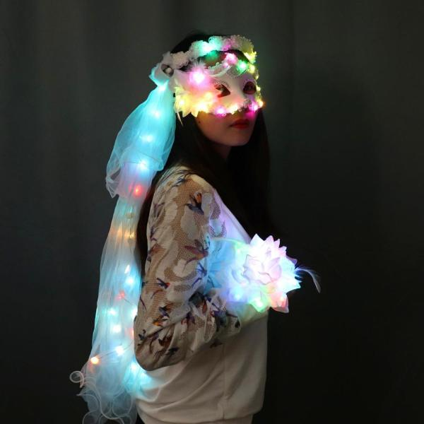 Colour LED Glowing Wreaths Veil Music Festival Party Veil Princess Hair Ornaments