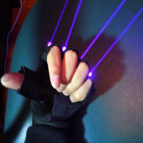 Violet Blue Laser Gloves with 4pcs 405nm Laser Stage Gloves for DJ Club Party Show