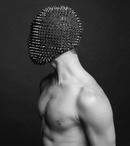Nightclub Rivet Headgear Black Rhinestone Mask GoGo Dance Wear Party Dress Bar Ds Performance Hair