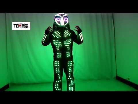 Future LED Lumious Robot Suit Stage Performance Light Up Costume Helmet Clothing Bar Nightclub