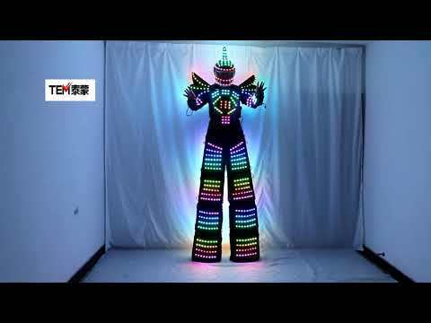 Full Color Pixel LED Robot Costume Clothes Stilts Walker Costume LED Suit Costume Helmet Laser Gloves
