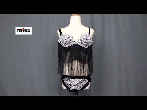Nightclub Pole Dance Clothing Bikini Rhinestone Mirror Costume Shiny Lens Bra Pant Sexy GOGO Dance Rave Clothes Stage Dress