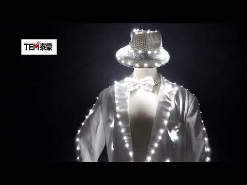 Fashion Swallowtail LED Tuxedo Luminous Costumes Glowing vestidos LED Clothing Show Men LED Clothes Dance Accessories