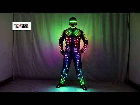Full Color LED Robot Suit Stage Dance Costume Tron RGB Lighted Luminous Outfit Jacket Coat