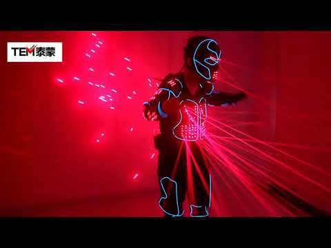 Laser Robot Suits, Red Laser Waistcoat LED Clothes, EL Wire Glowing Suit American Talent Show