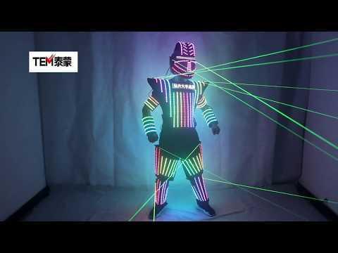 Full Color LED Robot Suit Green Laser Costume Laser Jacket Model Show Dress Clothe DJ Bar Performance