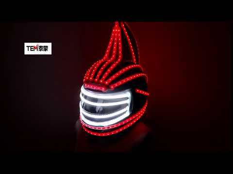 RGB LED Helmet Monster Luminous Hat Dance Clothes DJ Helmet for Performances LED Robot Performance Party Show
