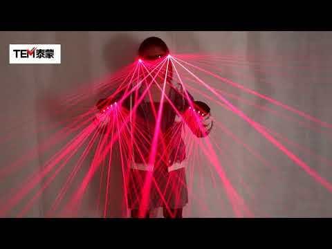 2 In 1 Multi-line Red Laser Gloves with 4pcs Laser Disco LED Laser Gloves for LED Luminous Laser Show