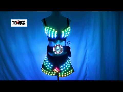 Full Color LED Clothing Glowing Bra Shorts Fashion Luminous Belt Sexy Lady LED Costume Nightclub Bar Stage Show