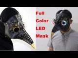 Full Color LED Lighting Steampunk Plague Bird Doctor Mask Brown PU Leather Bird Beak Mask Gothic Retro Halloween Cosplay
