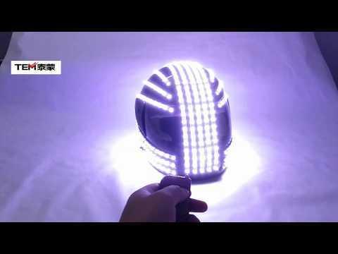 White Strobe LED Helmet LED Luminous Costumes Wireless Remote Control  Robot Laser Dance Performances