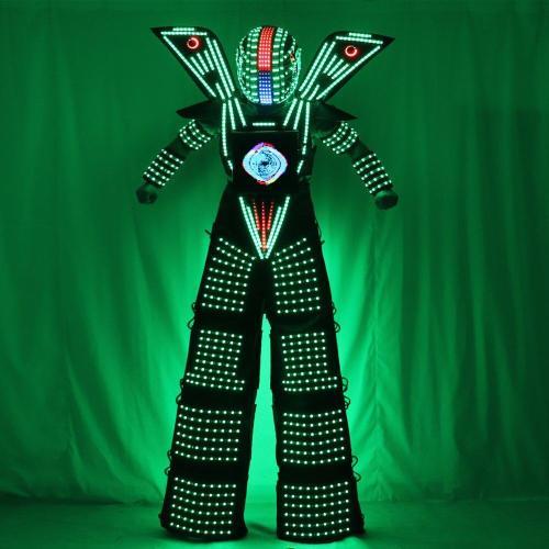 Traje LED Robot Costume led Clothes Stilts Walker Costume LED Suit Costume Helmet Laser Gloves