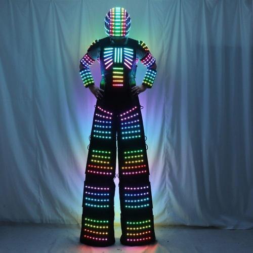 Full Color Pixel  Stilts Walker  LED Suit  LED Robot Costume Clothes Helmet Laser Gloves CO2 Gun Jet Machine
