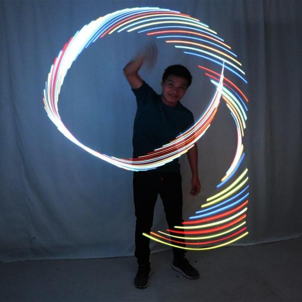 LED Rhythmic Gymnastics Ribbon Colorful Luminous Gym Ribbons Dance Rgb Glow Led Poi Ribbon For Belly Dance Hand Props