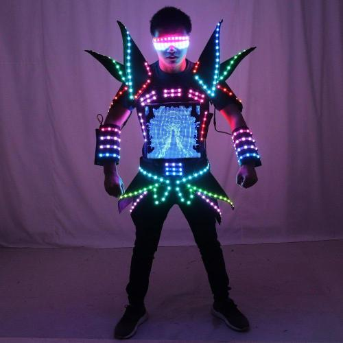 LED Robot Display Costumes Party Performance Wears Armor Suit Colorful Light Mirror Clothe Club Show Outfits Helmets Disco