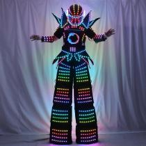 Full Color Smart Pixels LED Robot Suit Costume Clothes Stilts Walker Costume LED Lights Luminous Jacket Stage Dance Performance