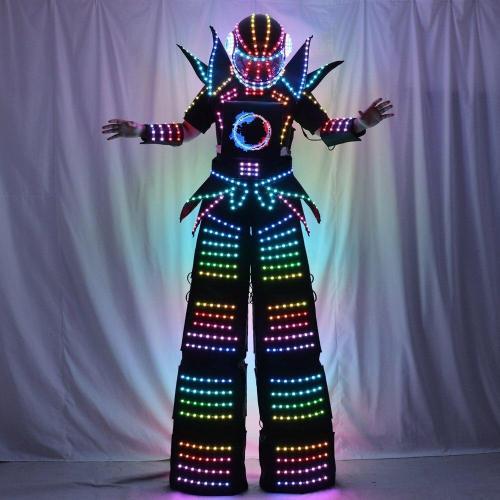 Full Color Smart Pixels LED Robot Suit Costume Clothes Stilts Walker Costume LED Lights Luminous Jacket Stage Dance Performance
