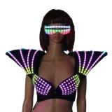 RGB LED Bra Colorful Shoulder Dance Costumes Luminous Vest for Ballroom Bar Dj Disco Party Event Singer Sexy Wears