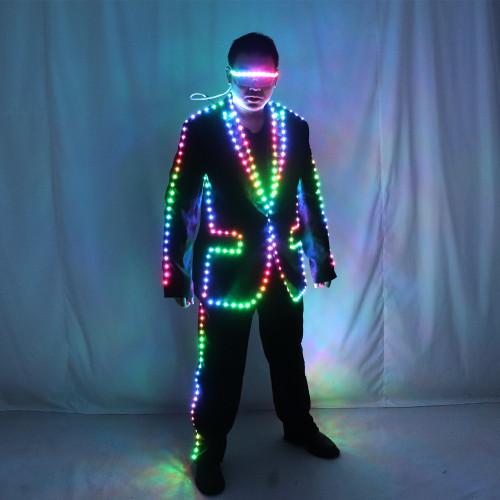 Digital Full Color LED Suit Remote Control LED Jacket for Bar Hosting, Wedding Men's dress Costume Tron suit