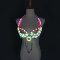 LED lights Bling Bling Mermaid Belly Dance Costume Set Women Belly Dance Bra Skirts Professional Outfit
