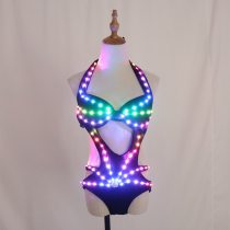 Full Color Pixel LED Lights Jacket Coat Jazz Bar Ds New Sexy Suit Dj Bikini Nightclub Gogo Lead Dancer Group Dance Costume