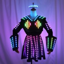 Full Color LED Leather Skirt Female Robot Outfit Stage Performance Bar Sexy Night Club DJ Singer Dance Dress