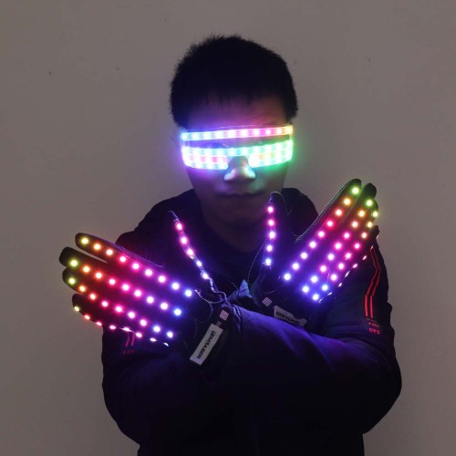 Flashing Gloves Glow 360 Mode LED Rave Light Finger Lighting Mitt Party Supplies Glowing Up Glove Glasses Party Decor